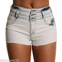 LADIES WOMENS HIGH WAIST ACID WASH SKINNY STRETCH SEXY DENIM SHORTS 6 8 10 12 14