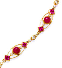 Exquisite Ruby Diamond Bracelet 18K Yellow Gold Quality One Diamond & Rubies