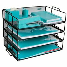 Stackable Paper Tray Desk Organizer 4 Tier Metal Mesh Letter Organizers For