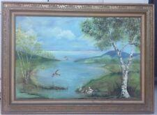 Deco-Modern Landscape W/Ducks Large Oil On Canvas Painting Signed Rose Muller