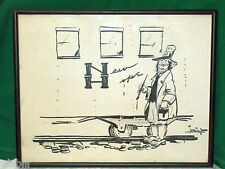 POLITICAL CARTOON INK SIGNED SKETCH Rhode Island CARTOONIST PAULE STETSON LORING