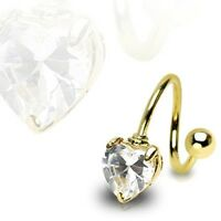 Gold Plated Surgical Steel Twister Prong Set CZ Heart Belly Bar / Navel Ring