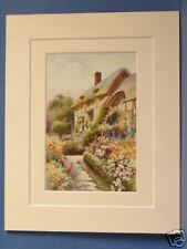 ANNE HATHAWAY COTTAGE STRATFORD ON AVON VINTAGE DOUBLE MOUNTED HASLEHUST PRINT