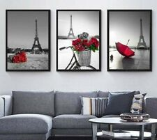 3 pcs Eiffel Tower Red Umbrella Landscape Canvas Painting Girls Room Art Decor