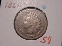 1867 INDIAN HEAD CENT GOOD G BETTER DATE COIN NICE COMBINED SHIPPING