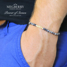 MEGBERRY Mens Beaded Bracelet - Black Veined Jasper & 925 Sterling Silver