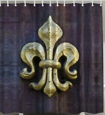 Fleur De Lis SHOWER CURTAIN Large Golden Flower French Lily Fabric Bath Decor