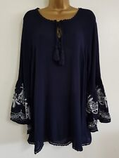 NEW Ex Ev-ns Plus Size 14-28 Floral Embroidered Navy White Tunic Top Blouse