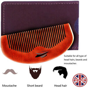 Natural Wood Beard Mustache Comb with Leather case Anti-static pocket size UK