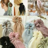 Boho Women Elastic Ponytail Scarf Bow Hair Rope Ties Scrunchies Ribbon Hair Band