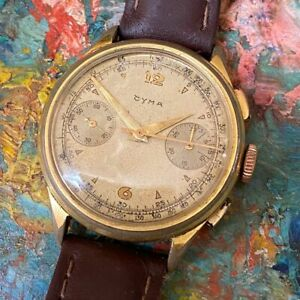 CYMA CHRONOGRAPH VALJOUX 22 VINTAGE GOLD PLATED WATCH 100% GENUINE 36MM 1940