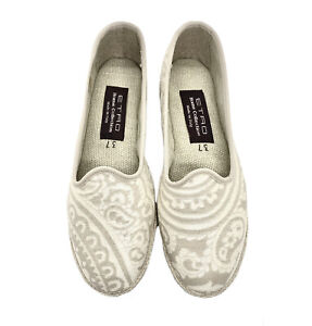 Etro Home Women's White Paisley Print House Slippers Flats Shoes 7-9
