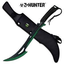"Zombie Z Hunter Machete 24"" Apocalypse Sword BIOHAZARD Black Green 2-Tone 020BG"
