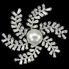 Sterling Silver Large Genuine Natural Pearl and Lab Created Diamond Brooch