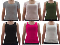 Ex Esmara Ladies Soft Feel Cotton Basic Vest Top and T-Shirt Pack of 3 Clearance