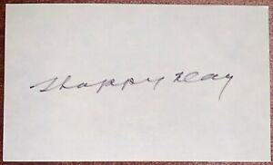 Hap Day - Toronto Maple Leafs - Signed 3x5 Index Card