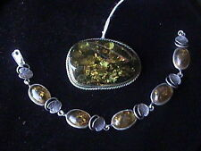 Sterling Silver real amber bracelet and brooch