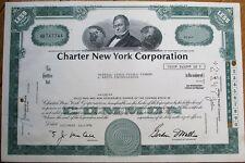 'Charter New York Corporation' 1976 Bank Stock Certificate - Green
