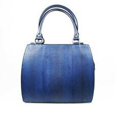Blue Genuine Leather Sea Snake Skin Women Cross body Shoulder Handbag Satchel.