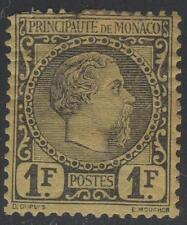 """MONACO STAMP N° 9 """" PRINCE  CHARLES III 1F NOIR S.JAUNE 1885 """" NEUF x VOIR  K394"""