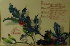 1879 Victorian Christmas Trade Card Poem Holly Berries Fabulous! #L