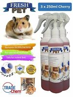 3 X 250ml FRESH-PET Rabbit Hutch and Rabbit Run Guinea Pigs Hamster - Cherry