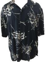 Van Heusen mens Hawaiian shirt size XL black tan floral silk rayon short sleeve