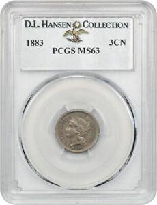 1883 3cN PCGS MS63 ex: D.L. Hansen - Rare Date - 3-Cent Nickel - Rare Date
