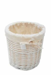 White Shabby Chic Office Home Bathroom Bedroom Wicker Waste Paper bin Dusbin