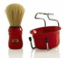 OMEGA BRUSH SHAVE SET 49.18 (RED) Boar Bristle Brush, Stand & Cup