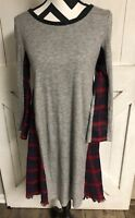 Women's Medium THML Anthropologie Dress Lined Knit Gray W/ Red Plaid