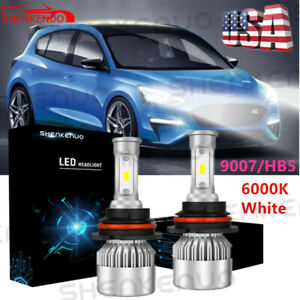 S2 9007/HB5 LED Headlight Hi/Lo Beam Conversion COB LED Bulb Kit 72W White 2Pcs