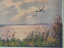 Antique oil on Canvas signed Camphuys ducks in flight orig. Painting artwork WoW