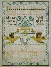 1981 WONDERFUL VINTAGE CROSS STITCH SAMPLER ALPHABETS BIRDS HEART