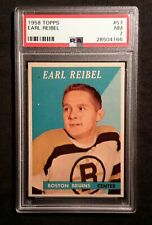1958 58-59 Topps Earl Reibel (57) Boston Bruins PSA 7++++++ Super Tough+ Hi-End