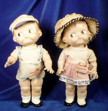 "Vtg 1940s PAIR 12"" HORSMAN CAMPBELL SOUP KIDS Compo Dolls Original Outfits Tags"