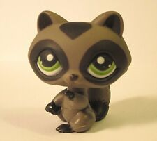 Littlest Pet Shop LPS Gray Black Green Eyes Masked Retired Racoon 450