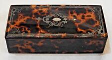 Antique Faux Tortoise Shell Box with Silver Inlay