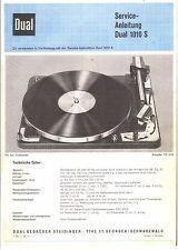 Dual Service Manual para Phono 1010 s