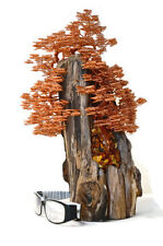 Wire Tree Sculpture Driftwood Art Copper Wire Home Decor Amber Art Decoration