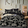3D White Skull Bedding Set Comforter Duvet Cover Flower Quilt Cover Pillowcase