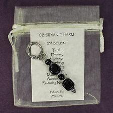 OBSIDIAN STONE CHARM Warrior Healing Amulet Talisman Totem Snake Symbolism Card