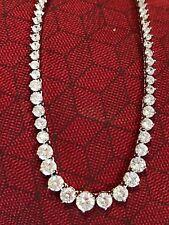 7728781b5895ec 20ct Brilliant Graduated Diamond 14K White Gold Finish Tennis Necklace 17