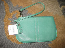 COACH LEATHER JADE GREEN WRISTLET WALLET CLUTCH NWT NEW, NEVER USED