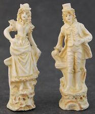 Pair Antique Petite Dresden German Porcelain French Style Man Lady Figurines