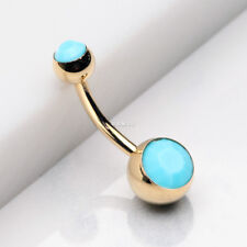 Golden Turquoise Double Gem Ball Steel Belly Button Ring