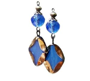 Earrings Blue Art Glass Cathedral Bead and crystal with boho trims