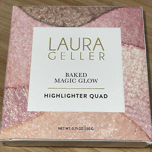 New LAURA GELLER BAKED Magic Glow Highlighter Quad .71 OZ With Box