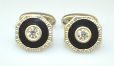 ANTIQUE BLACK CELLULOID CUFFLINKS WITH RHINESTONE CENTER &ENGRAVED BORDER