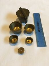 Vintage Brass Nesting Weights Cup Flip Top Apothecary Pharmacy 16 Oz